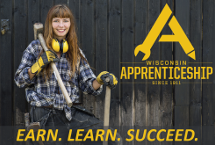 Apprenticeship logo and link to homepage and text, Earn Learn Succeed