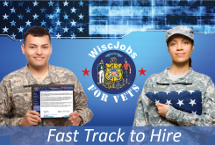 Wisc Jobs for Vets logo and link to homepage and text, Fast Track to Hire