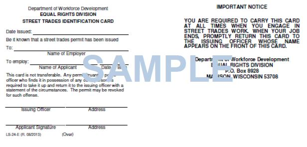 LS-24: Sample of Street Trades Permit
